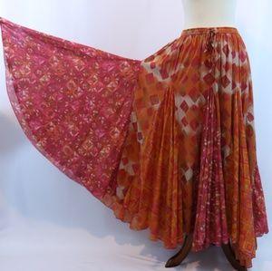 Avenue Mixed Printed Hankerchief Boho Maxi Skirt